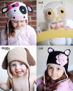 crochet kid hats... cow, owl, dog, kitty.  Cow is my favorite