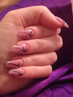 Almond nails w/Sheer purple and design Sarah's nail art
