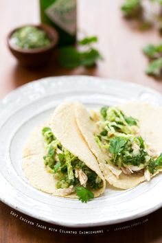 Soft Chicken Tacos with Cilantro Chimichurri and Homemade Corn Tortillas - A quick dinner with TONS of flavor.