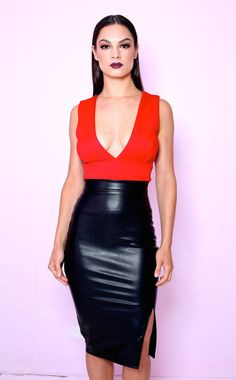 10d7aa8f47 Scarlet Iconic top and faux leather side split pencil skirt