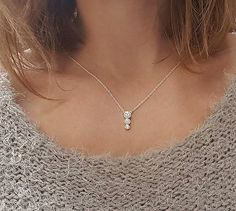 Diamond Necklace Three Stone Necklace Cluster Diamond by MinimalVS