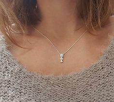 Diamond Necklace Three Stone Necklace Cluster Diamond by MinimalVS