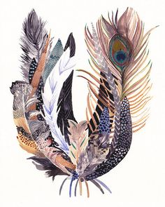 Feather Bundle  Large  Archival Print by unitedthread on Etsy, $40.00