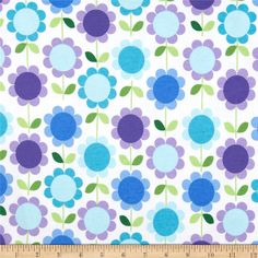 Kaufman Laguna Stretch Jersey Knit Flower Stripe Multi Blue from @fabricdotcom  Designed by Ann Kelle of Robert Kaufman Fabrics, this lightweight stretch Cotton Printjersey knit fabric features a smooth hand and 50% four way stretch for added comfort and ease. It is perfect for making t-shirts, kids and baby apparel, loungewear, yoga pants and more! Colors include purple, green and purple on a white background.