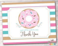 Sprinkle Pink & Blue Donut Printable Thank You Cards – Erin Bradley/Ink Obsession Designs Printable Thank You Cards, Printable Planner Stickers, Printables, Thank You Card Size, Blue Donuts, Recipe Cards, Card Sizes, Blue Stripes, Sprinkles