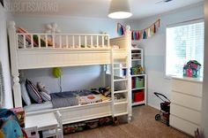 Astonishing Shared Kids Room Designs to Check Out: Captivating White Shared Kids Room Design with White Ikea Bunk Bed and White Pendant Lamp also White Drawing Table and Light Brown Rug – Ewehome Interior Design Ideas and Furniture