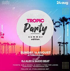 Download the Free Tropic Party Instagram Template for Photoshop! - Free Club Flyer, Free Flyer Templates, Free Instagram Templates, Free Party Flyer, Free Summer Flyer - #FreeClubFlyer, #FreeFlyerTemplates, #FreeInstagramTemplates, #FreePartyFlyer, #FreeSummerFlyer - #Club, #Dance, #Disco, #DJ, #Electro, #Elegant, #Future, #Instagram, #Music, #Night, #Nightclub, #Party, #Square