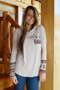 Spring Romance Aztec Hoodie - Taupe