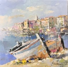 Branko Dimitrijevic, Boats in Rovinj, Oil on canvas, Renoir Paintings, Landscape Paintings, Boat Art, Aesthetic Painting, Palette Knife Painting, City Landscape, Traditional Paintings, Abstract Oil, Scenery