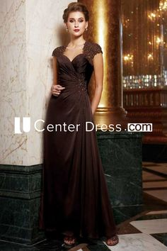 $134.39-Chic Beaded Long Chocolate Mother of the Groom Gown With Sleeves. http://www.ucenterdress.com/cap-sleeved-a-line-gown-with-beadings-and-appliques-pMK_301031.html.  Tailor Made mother of the groom dress/ mother of the brides dress at #UcenterDress. We offer a amazing collection of 800+ Mother of the Groom dresses so you can look your best on your daughter's or son's special day. Low Prices, Free Shipping. #motherdress