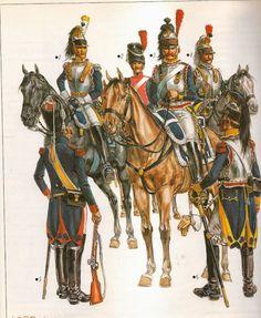 Nº 1 .- Oficial en 1803.  Nº 2 .- Compañia de élite,1801. Nº 3 .- Coracero del 8º regimiento en 1801. Nº 4 .- Trompeta del 10º regimiento en 1803-1804.Es un croquis de Fix ,que muestra que los trompetas llevaron un tiempo la coraza. Nº 5 .- Carabinero a caballo del 2º regimiento en 1798, su arma es la minuscula carabina que le sera retirada en septiembre de 1799. Nº 6 .- Coracero de 8º regimiento en 1802.