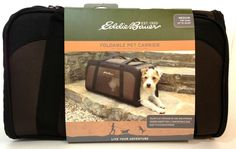 Eddie Bauer Brown Medium Dog Carrier Foldable 12lbs Collapsible Crate New #EddieBauer