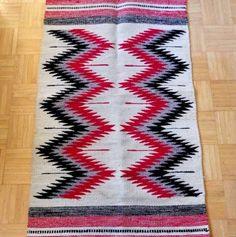 "Vintage 70's artesanias maya wool rug chevron zapotec 28""X57"" by eclecticvintageboho on Etsy"