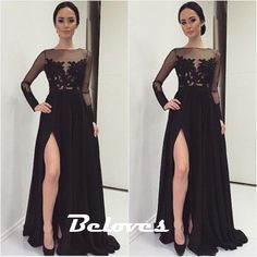 Black Sheer Long Sleeves Formal Evening Gown With Slit Skirt