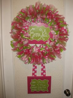 what a nice way to display your new baby. custom boutique baby wreath, birth announcement and hospital door    75