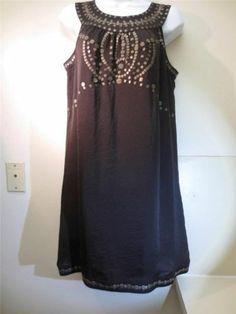 Alfani Chocolate Brown Sheath Dress Sz 4 w Bronze Color Bead Design Sleeveless