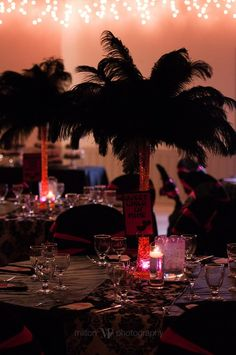 wedding decor  pink and black feather centerpieces