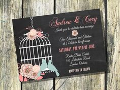 Custom - Wedding Invitation with Birdcage on a Faux Chalkboard background - Floral Design with Birds in Pink, White and Blue on Etsy, 10,74 €