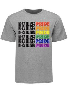 Show off your pride for Purdue LGBTQ with this Boiler Pride T-Shirt! This crew neck t-shirt features a bold screen print graphic on a cotton fabrication. Birthday List, Boiler, Graphic Prints, Neck T Shirt, Screen Printing, Size Chart, Pride, Crew Neck, Mens Fashion