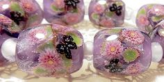 https://www.etsy.com/shop/AyakoGlassGarden new item for etsy Weeping Double Cherry Blossom with Butterfly Satake Glass Lampwork beads set