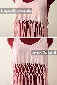 Cut shirt Knotted Strands. My sister did this! It's cool!