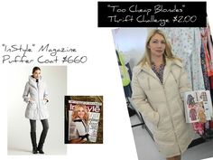 InStyle magazine $660 vs Thrift Shop $2 Puffer coat
