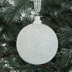Buy John Lewis Snowdrift Glass Flitter Lace Bauble, White and Silver Online at johnlewis.com