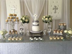Beautiful white and silver baptism   CatchMyParty.com