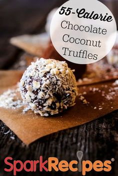 Snowball Truffles: These truffles are a healthier version of snowball cakes--those coconut-covered chocolate cake filled with cream, covered in marshmallow and coconut!  | via @SparkPeople #food #recipe #treat #snack #dessert