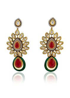 Earrings with american diamonds and ruby stone in two tone finish