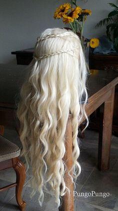 Topcosplay Cosplay Perruque Femme Daenerys Perruques Longue Boucl/ée Blonde Perruque khaleesi pour Halloween Costume