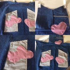Upcycled an apron discarded by a restaurant chain.  #apron #upcycling https://folksy.com/items/6841115-Upcycled-apron-denim-with-decorative-heart-detail
