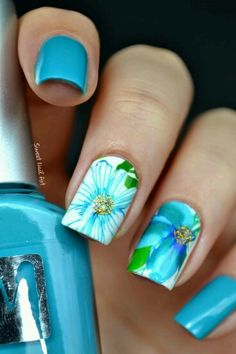 Flowers Nail Art Designs Lovely 45 Easy Flower Nail Art Designs for Beginners Great Nails, Cute Nail Art, Uñas Fashion, Blue Nail Designs, Floral Nail Art, Manicure E Pedicure, Fancy Nails, Flower Nails, Creative Nails