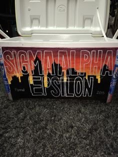 Nola skyline in the background Sae Fraternity, Fraternity Crafts, Fraternity Formal, Fraternity Coolers, Frat Coolers, Sorority And Fraternity, Sorority Recruitment, Sorority Letters, Sorority Paddles