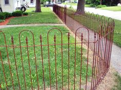 Wrought Iron Tall Fencing - Metal Panels will enclose your yard for a nice perimeter. Our wrought iron fencing panels for sale are easy to Farm Fence, Pool Fence, Backyard Fences, Fence Gate, Fenced In Yard, Yard Landscaping, Fence Around Pool, Gabion Fence, Wrought Iron Fences