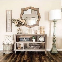 home decor entryway 35 Popular Modern Farmhouse Living Room Decor Ideas - There is nothing quite as warm and welcoming as an old farmhouse. This style of decorating practically begs friends and families to come in, put their. Modern Farmhouse Living Room Decor, Farmhouse Wall Decor, Home Living Room, Rustic Farmhouse, Farmhouse Style, Modern Living, Small Living, Farmhouse Ideas, Farmhouse Design
