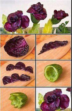 Purple rose out of veggies tutorial