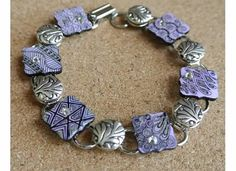 Zentangle art bracelet soft lavender with silver bead accents - hand drawn design- BoTangles