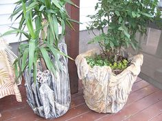 These are quite different from many of the photos of cement cloth planters. It appears that layers of cloth were used. If you follow the link there are several more cement cloth art pieces that are kind of amazing. | photo