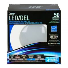 """Feit LEDR4/850/CAN 50w Replacement Dimmable 4 Inch 5000K LED Retrofit Kit -  These energy efficient Performance LED Retrofit Kits are compatible with most 4"""" recessed cans. They are Energy Star Approved, easy to install, dimmable and last up to 50,000 hours. Each kit comes with a standard base adapter and a pre-mounted trim.  www.bulkhydro.com"""