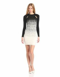 French Connection Women's Ombre Dust Wool & Jersey Bodycon Sexy Christmas Dress