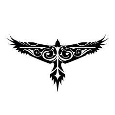 Hawk Tattoo. Black and white. Symmetrical. Swirly. Ornate.