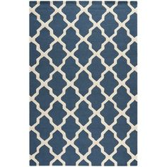 @Overstock.com - Safavieh Handmade Moroccan Cambridge Blue Wool Rug - This patterned blue wool rug combines bright, modern colors with a traditional Moroccan pattern. The simple pattern is eye-catching, but not overpowering, and the quality wool fibers provide enduring strength that will hold up over the years.  http://www.overstock.com/Home-Garden/Safavieh-Handmade-Moroccan-Cambridge-Blue-Wool-Rug/7530620/product.html?CID=214117 $26.65