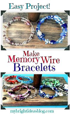 Make Memory Wire Bead Bracelets - Armband Memory Wire Jewelry, Memory Wire Bracelets, Jewelry Bracelets, Silver Bracelets, Pandora Jewelry, Bracelet Fil, Bracelet Making, Making Bracelets With Beads, Diy Bracelets To Sell