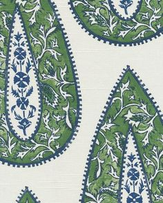 Bendi in Kelley Green - white fabric with blue and green paisley - $18/yd