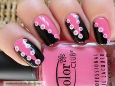 50's Pink & Black Nails