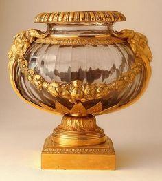 18th century French Urn:Ormolu mounted cut glass Gilt bronze