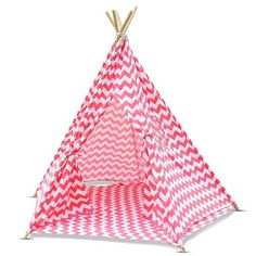 5 Poles Childs Teepee Kids Play Tent Canvas Indoor Outdoor Tipi Playhouse Coral