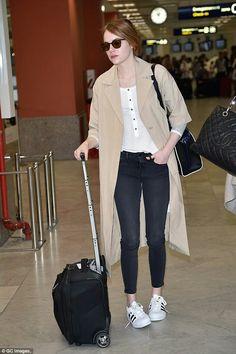 5ba7ebfa99b Emma Stone wearing Oliver Peoples L. Coen Sunglasses