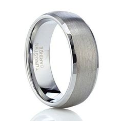 8MM Matte Center Tungsten Rings Men's Wedding Band Ring